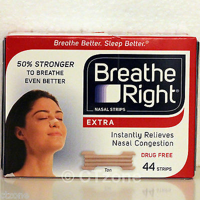44 Breathe Right EXTRA Nasal Strips Stop Snoring Sleep Aid Snore 1 Box 44 Strips