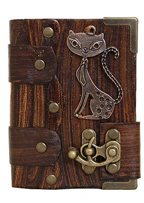 Cat Pendant Brown Leather Journal / Diary / Sketchbook / Leatherbound / Lock