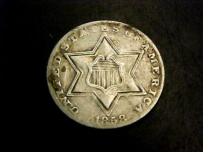 RARE 1858 3c THREE CENT SILVER PIECE XF BUY IT NOW OR MAKE OFFER