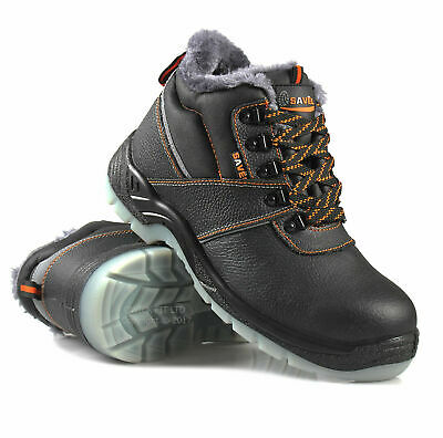 Mens Black Leather Safety Chukka Boots Steel Toe Cap Ladies Trainers Shoes Size