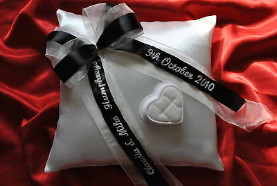 Personalised wedding ring cushion pillow with rings holder