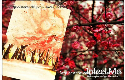 4Pcs Flowers Pink Cherry Blossom Painting Postcard Picture Poster Gift Art Cards