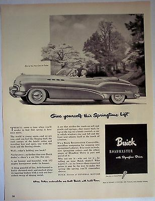 Roadmaster convertible automobile by Buick vintage 1950 Car AD