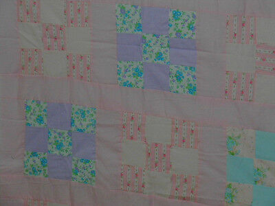 """9 Patch Pieced Baby Quilt Top 61"""" X 37"""" Flannel Cotton Material Lap Blanket PBQ2"""