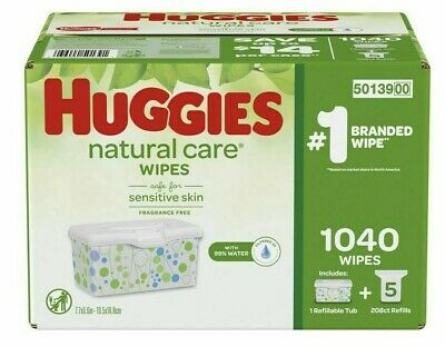 Huggies Natural Care Baby Wipes 920 ct Vitamin E Fragrance Free Tub Dispensing