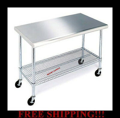 NSF Rolling Workbench Table with Stainless Steel Cutting Top Adjustable Shelf