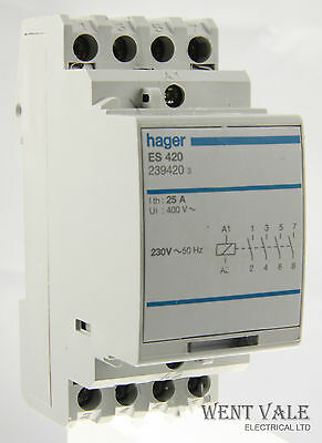 Hager ES420 - 25a Four Pole Normally Open Contactor 230v Coil Used