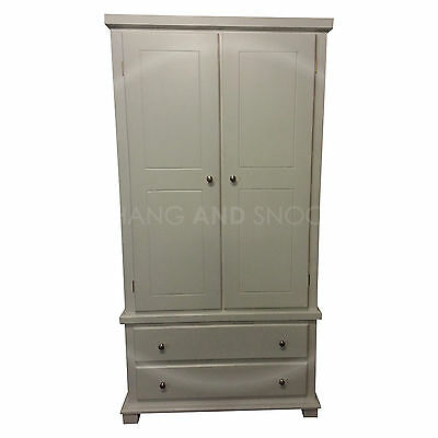 Hand Made Furniture Florida White  2 Drawer Wardrobe White (Assembled)