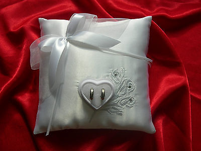 Wedding ring cushion pillow with crystals and rings holder -embroidery