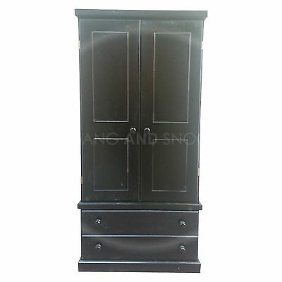 Hand Made Cambridge 2 Drawer Wardrobe Gents Black(Assembled)
