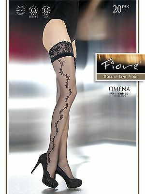 Fiore Golden Line Omena Lace Top Patterned Hold Ups 20 Denier - White - Medium 3