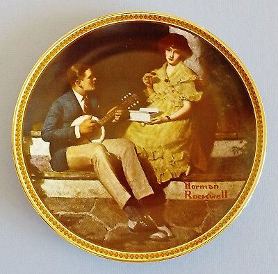 """NORMAN ROCKWELL 1984 ~ KNOWLES PLATE ~ 8.5-In Diameter ~ PONDERING ON THE PORCH"""""""