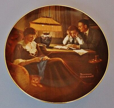 """NORMAN ROCKWELL 1984 ~ KNOWLES PLATE #785K ~ 8.5-In Diameter ~ """"FATHER'S HELP"""""""