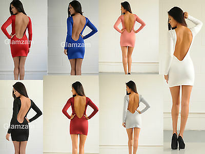 New Womens Ladies Sexy Low Back Party Celeb Towie Mini Bodycon Backless Dress