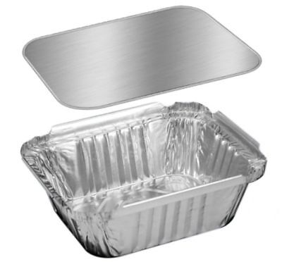 HFA 1 lb. Oblong Foil Pans with Board Lid 25 Sets - Aluminum Take-Out Containers
