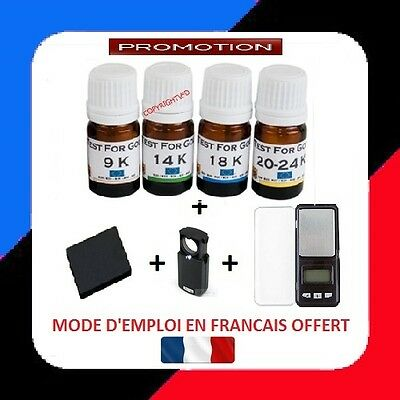 Kit Test Tester Testeur Or 4 Flacons 9 14 18 24 K + Pierre + Loupe+Balance 0.01