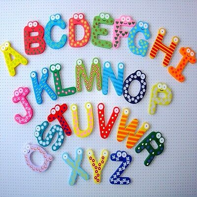 Wooden Fridge Magnet Alphabet & Number Kids Educational Toy Baby Gift MultiColor