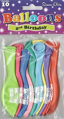 10 X Age 2 Happy Birthday Balloons Multi Colours Airfill Party Decoration