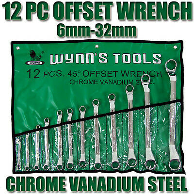 12 Pcs Double Ring Offset Wrench Spanner Tool Set Chrome Vanadium Wrenches Tools
