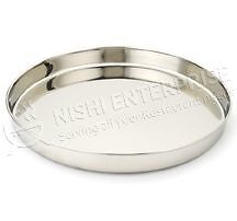 """Stainless Steel Thali Platter - 13"""" with rolled edges"""