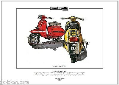 LAMBRETTA GP200 Scooter - Fine Art Print - Grand Prix styled by Bertone in Italy