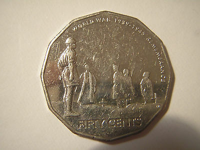 Australian fifty cent 50c coin 2005 WORLD WAR 2 REMEMBRANCE - circulated