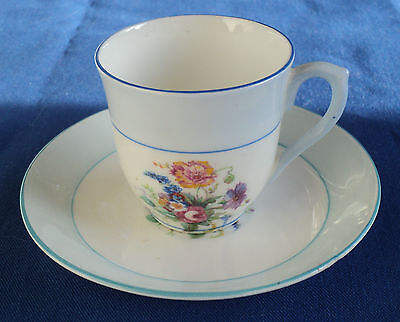 Colclough China Demitasse Cup & Saucer Light Blue Band Floral & Rose