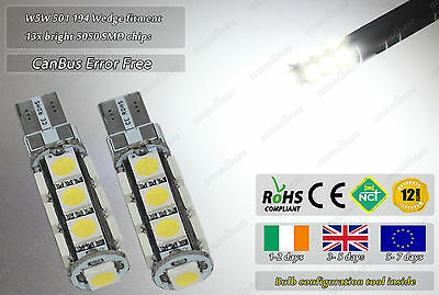 2x W5W 501 T10 LED CanBus Compatible Error Free Parking Side Lights Bulbs Lamps
