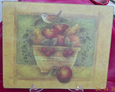 "GLASS COUNTER SAVER CUTTING BOARD 10 1/2"" x 13"" FRUIT BASKET BIRD PEARS APPLES"