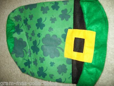 """ST PATRICKS DAY ADULT STOVE TOP HAT GREEN WITH SHAMROCKS  ALL OVER 12"""" H"""