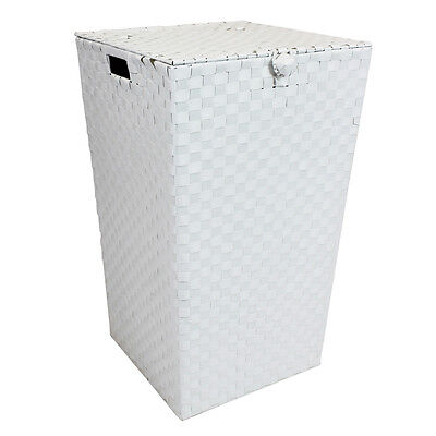 JVL White Tapered Washing Laundry Basket with Closure Fixing and Inset Handles