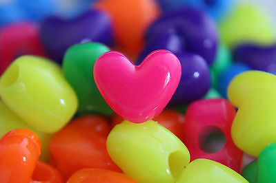 50 x Heart Shaped Pony Beads - Mixed Colours 12mm x 10mm - Choose Your Finish