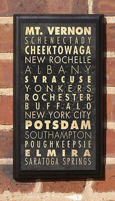 Cities of New York NY Vintage Style Wall Plaque / Sign