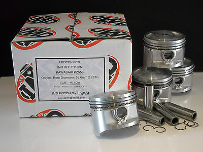 KAWASAKI Z550 KZ550 GT550 GPZ550 PISTON KITS (4) NEW +1.0mm OVERSIZE ZX550 KiR