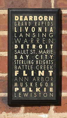 Cities of Michigan MI Vintage Style Wall Plaque / Sign
