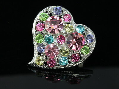 Wedding mix color pink blue Crystal love heart Brooch pin girl accessory D24