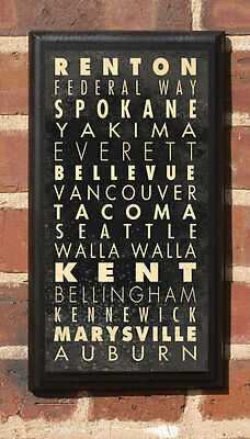 Cities of Washington WA Vintage Style Wall Plaque / Sign