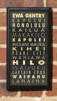 Cities of Hawaii HI Vintage Style Wall Plaque / Sign