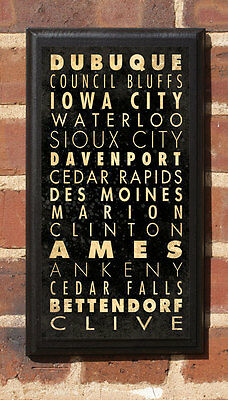 Cities of Iowa IO Vintage Style Wall Plaque / Sign