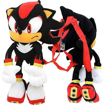 """Nanco Sonic Shadow Misterious the Hedgehog 22"""" inches Soft Plush Doll Backpack"""