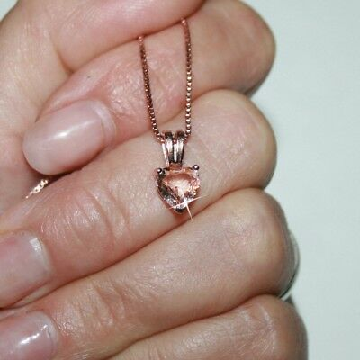 Natural Pink Heart Cut 7mm Morganite Pendant Necklace 14k Rose Gold over 925 SS