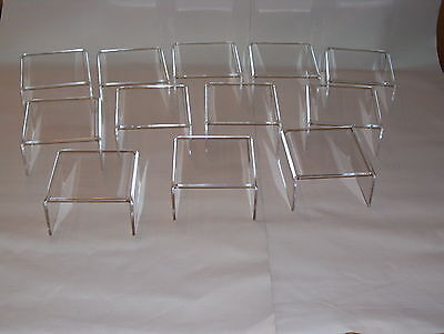 5 PACK CLEAR ACRYLIC LOW  RISER PLINTHS 5MM THICK BN