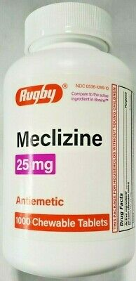 Rugby Meclizine 25mg Travel Sickness Tablets (Compare to Bonine) 1000ct