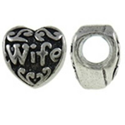 Antique Silver WIFE 10mm Scrolled Heart Large 4.6mm Hole European Charm Bead 1pc