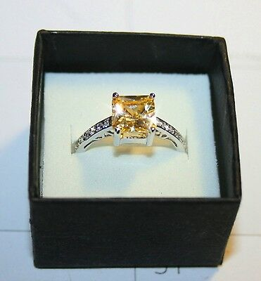 Canary Yellow Diamond Alternatives Princess Promise Ring White 14k Gold over 925