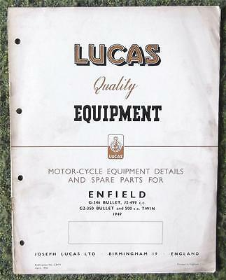 Lucas Royal Enfield Motorcycle Spare Parts List 1949 Ref- Ce491