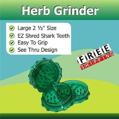 "Classic 2 1/2"" Herb Tobacco Grinder Shredder 2 Pc Green Shark Teeth Easy Grip"