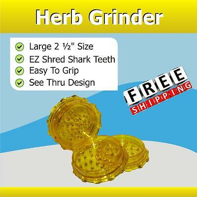 "Classic 2 1/2"" Herb Tobacco Grinder Shredder 2 Pc Yellow Shark Teeth Easy Grip"