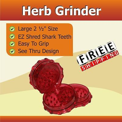 "Classic 2 1/2"" Herb Tobacco Grinder Shredder 2 Pc Red Shark Teeth Easy Grip"
