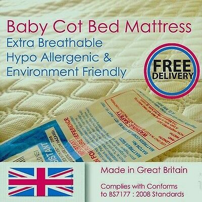 Breathable Baby / Toddler Cot Bed Foam Mattress / Quilted Cover - All Sizes